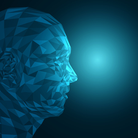 Futuristische concept abstracte 3D-gezichtsherkenning door Shapes EPS10 Vector ontwerp