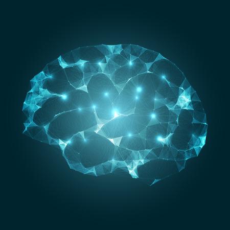 Los impulsos del cerebro de malla de diseño vectorial EPS10 Concepto de tecnología futurista