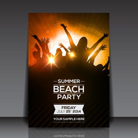 夏のビーチ パーティーのフライヤー - ベクター デザイン