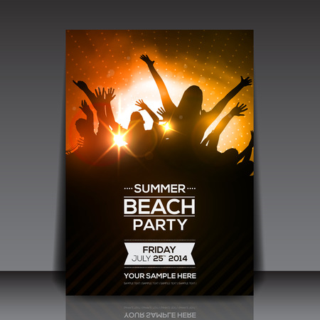 party background: Summer Beach Party Flyer - Vector Design