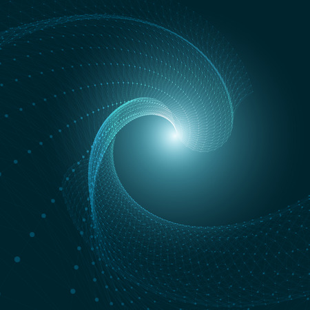 3D Blue Abstract Mesh Background with Circles, Lines and Shapes   EPS10 Design Layout for Your Business Vector