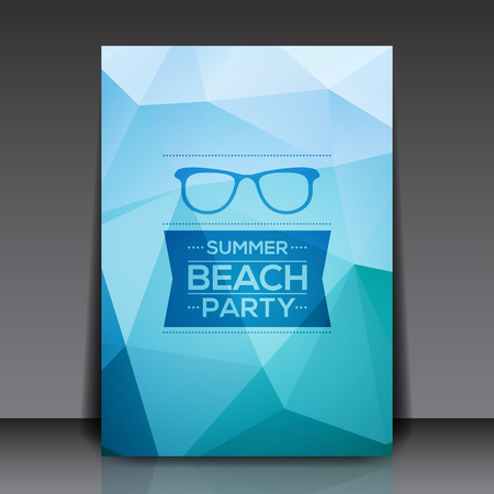 Abstract Summer Party Flyer Template - Vector Design Concept Vector