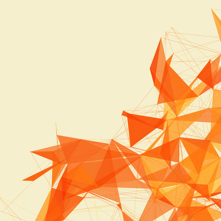 3D Orange Abstract Mesh Background with Circles, Lines and Shapes | EPS10 Design Layout for Your Business Vector