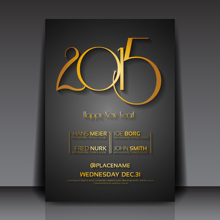 happy new year banner: 2015 New Year Vector Flyer Template Illustration