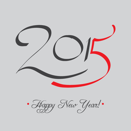 caligraphic: Happy New Year 2015 Typography Card  Illustration