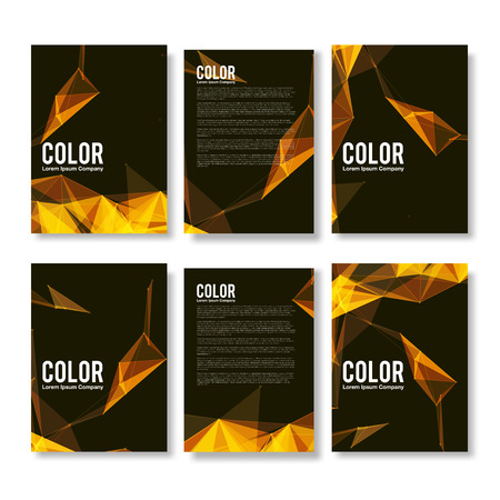 yellow line: Set of Colorful Modern Abstract Flyers - EPS10 Brochure Design Templates