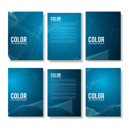 future advertising: Set of Blue Modern Abstract Flyers - EPS10 Brochure Design Templates