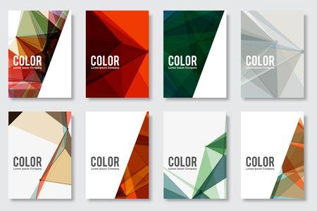 一連の抽象的なフライヤー幾何学的三角形の抽象的な現代背景 - EPS10 パンフレット デザイン テンプレート
