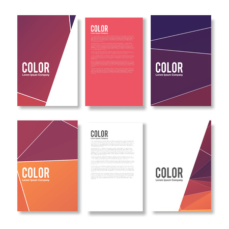 Set of Abstract Flyer Geometric Triangular Abstract Modern Backgrounds