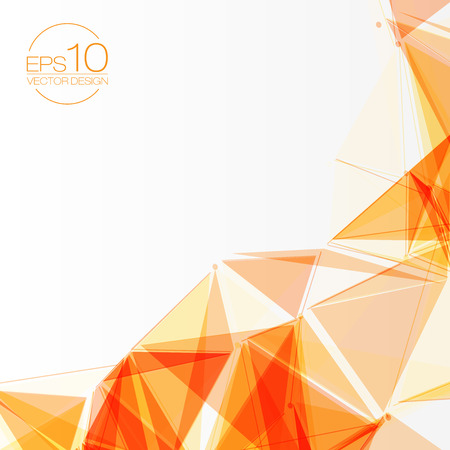 3D Orange Abstract Mesh Background with Circles, Lines and Shapes  Design Layout for Your Business  イラスト・ベクター素材