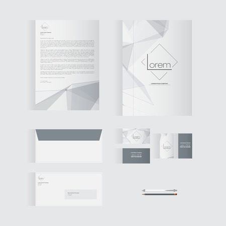documentation: Grey Stationery Template Design for Your Business | Modern Vector Design Illustration
