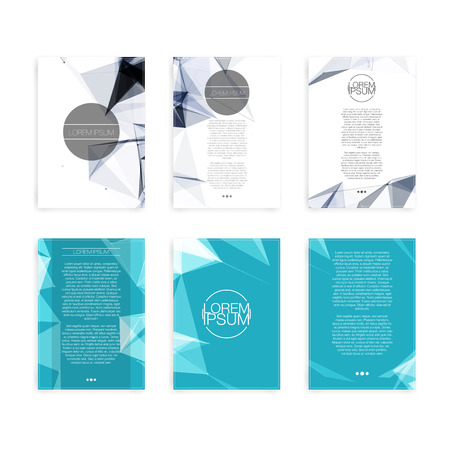 一連の抽象的なフライヤー幾何学的三角形抽象的な現代的な背景のパンフレットのデザイン テンプレート  イラスト・ベクター素材