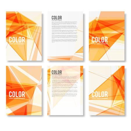 naranja: Conjunto de Aviador abstracto geom�trica triangular Fondos modernos plantillas del dise�o del folleto