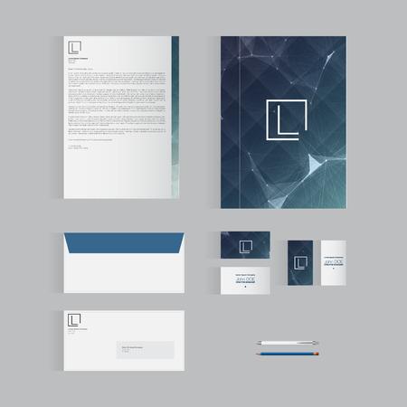 현대 벡터 디자인 | 귀하의 비즈니스를위한 블루 편지지 템플릿 디자인 일러스트