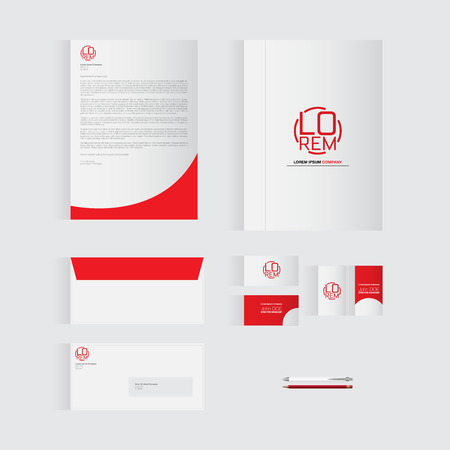 originality: Red Stationery Template Design for Your Business | Modern Vector Design Illustration
