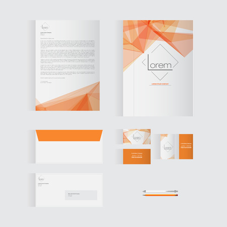 Orange Stationery Template Design for Your Business | Modern Vector Design Banco de Imagens - 37239499