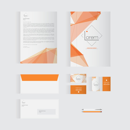 stationary set: Orange Stationery Template Design for Your Business | Modern Vector Design