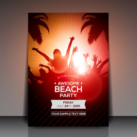 happiness people silhouette on the sunset: Summer Beach Party Flyer - Vector Design