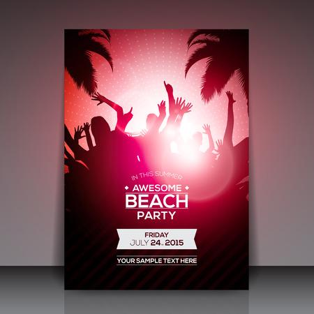 Summer Beach Party Flyer - Vector Diseño Foto de archivo - 37842633