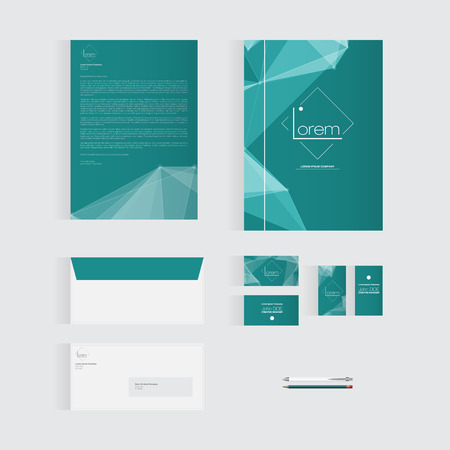 greenish blue: Greenish Blue Stationery Template Design for Your Business | Modern Vector Design