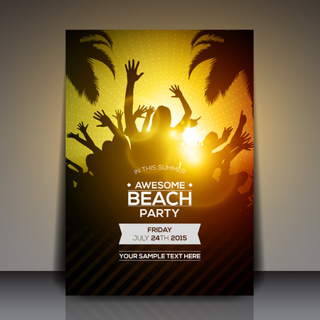 flyer party: Summer Beach Party Flyer - Vector Design