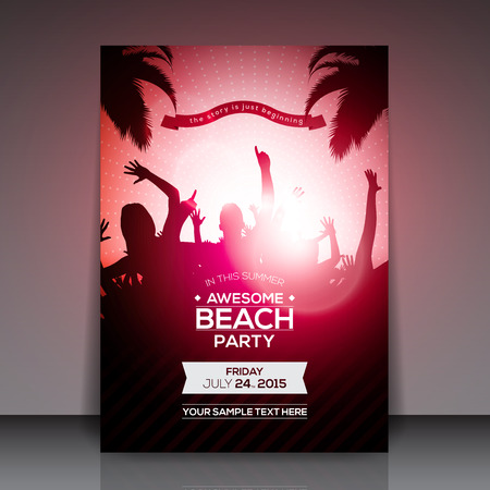 beach party: Summer Beach Party Flyer - Vector Design