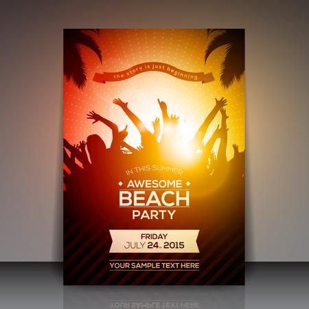 여름 해변 파티 전단 - 벡터 디자인 일러스트