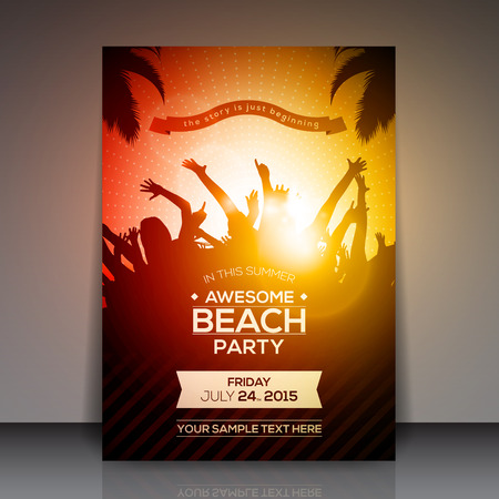 sexy girls party: Summer Beach Party Flyer - Vector Design