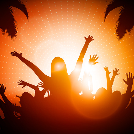dancing silhouettes: Party People | Beach Party Vector Background