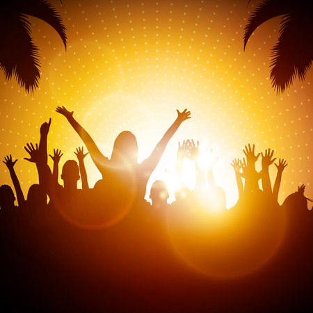 party silhouettes: Party People  Beach Party Vector Background