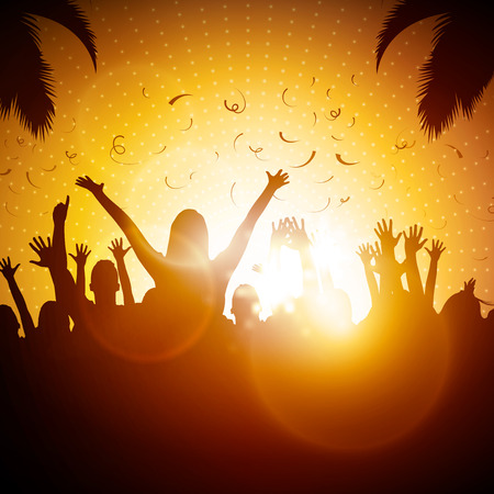 orange sunset: Party People  Beach Party Vector Background  Illustration