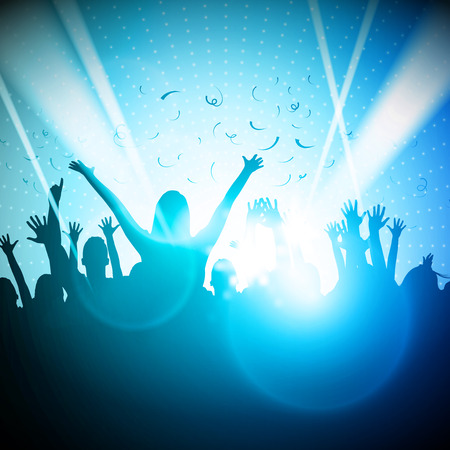dancing club: Party People in Club  Vector Background  Illustration
