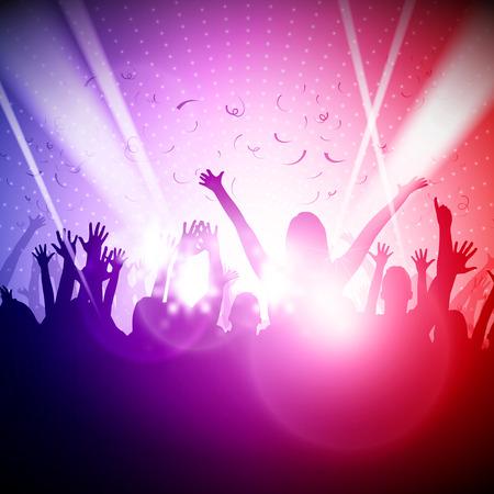 rave party: La gente del partido en el fondo del Club Vector