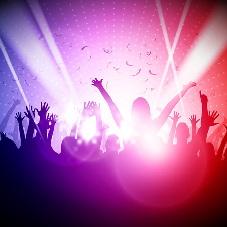 young people party: Party People in Club  Vector Background  Illustration