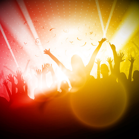 Party People in Club  Vector Background Stock Illustratie