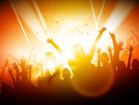 dancing silhouettes: Party People in Club | Vector Background  Illustration
