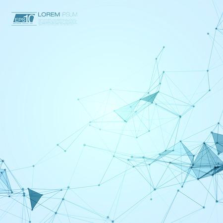 연결 점 및 선 EPS10 벡터 일러스트 레이 션 추상 다각형 공간 파란색 배경 일러스트