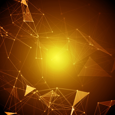 Abstract Polygonal Space Yellow Background with Connecting Dots and Lines   Vector Illustration Vector