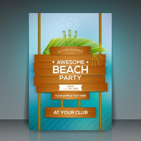 playas tropicales: Ilustración del partido del verano de la playa tarjeta publicitaria vector