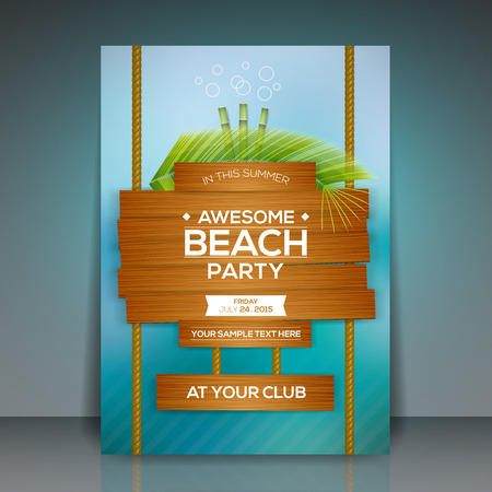 tropical beaches: Summer Beach Party Flyer Design  Vector Illustration