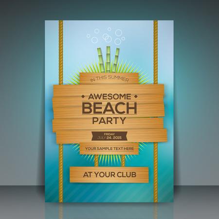 tropical tree: Ilustraci�n del partido del verano de la playa tarjeta publicitaria vector