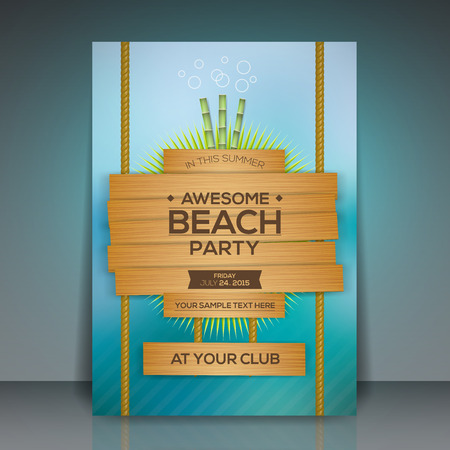 Caribbean sea: Summer Beach Party Flyer Design  Vector Illustration