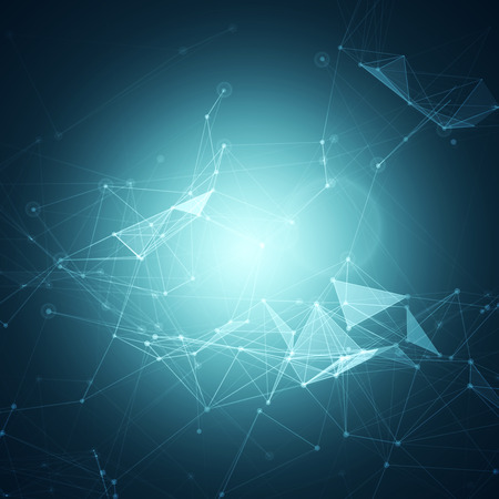 Abstract Polygonal Space Blue Background with Connecting Dots and Lines Vector Illustration