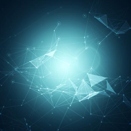 연결 점 및 선 벡터 일러스트 레이 션 추상 다각형 공간 파란색 배경 일러스트