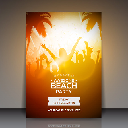 party silhouettes: Summer Beach Party Flyer  Vector Design