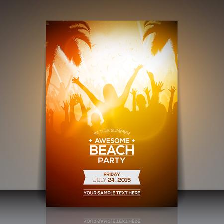 fiesta: Summer Party Beach folleto de dise�o vectorial Vectores