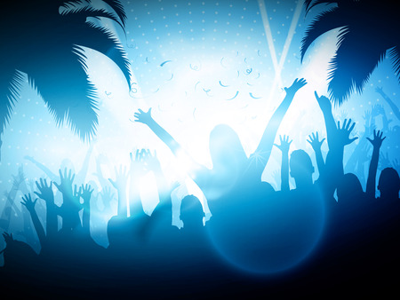 young people party: Party People on Beach  Vector Background  Editable Design Illustration