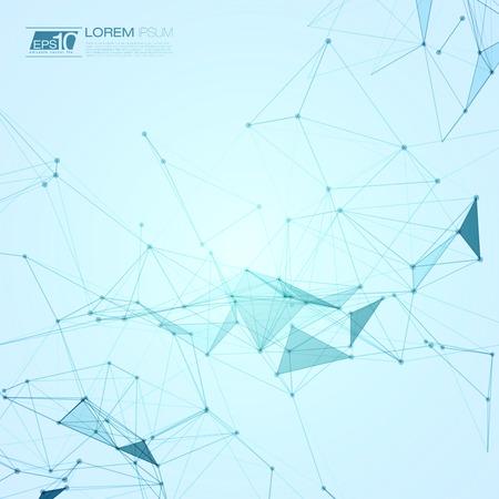 Résumé Contexte polygonal espace bleu avec des points de raccordement et illustration vectorielle Banque d'images - 39892678