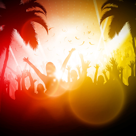 Party People in Club Vector Background Editable Design