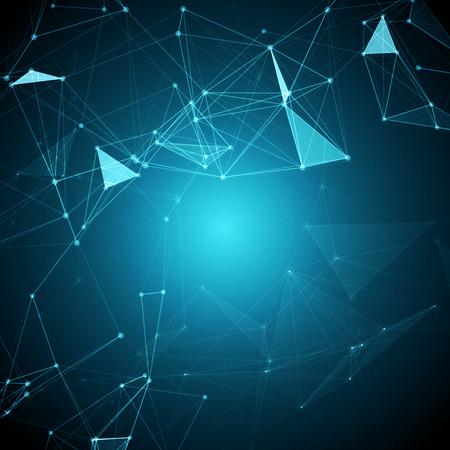 Résumé Contexte polygonal espace bleu avec des points de raccordement et illustration vectorielle Banque d'images - 39892717